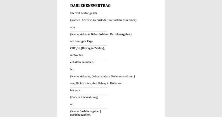 Darlehensvertrag Muster Vorlage Kostenlos Word Pdf Gratis Schweiz Info Ch