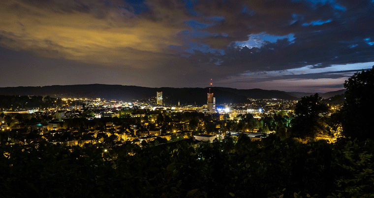 Stadt Winterthur Skyline - Winti by Night